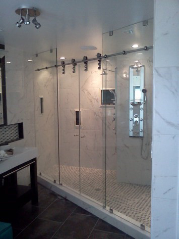 Binswanger Glass - Barn Door Double Shower